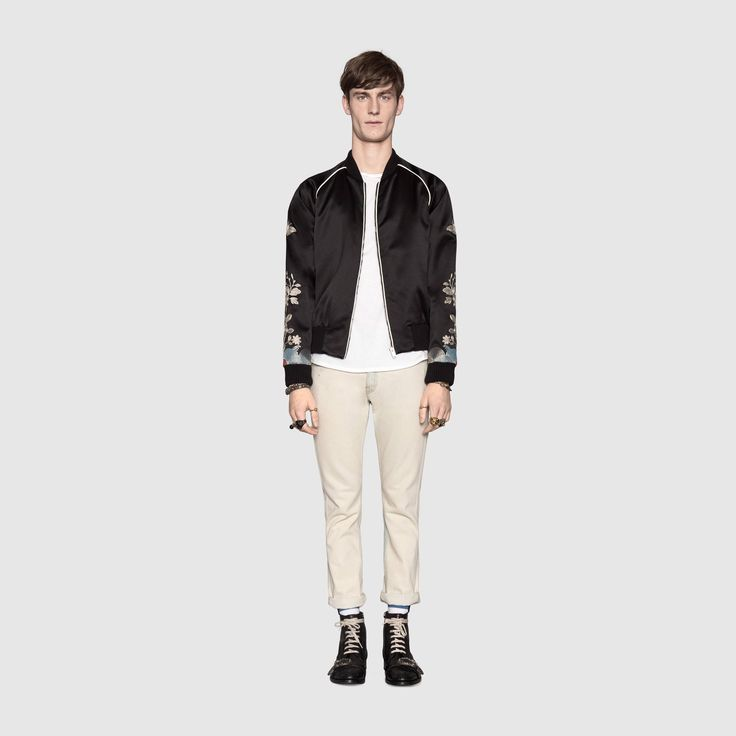 Silk bomber with metallic embroidery - Gucci Men's Outerwear & Leather Jackets 456674Z641B1000