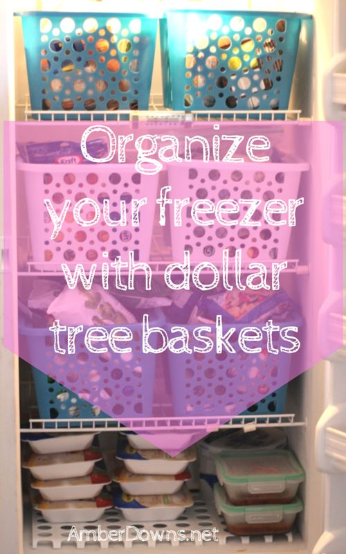 Organize your freezer with dollar tree baskets. DIY budget friendly deep upright freezer organization. Keep your freezer clutter free on the cheap. Perfect for couponers, buying in bulk, families, and anyone else.