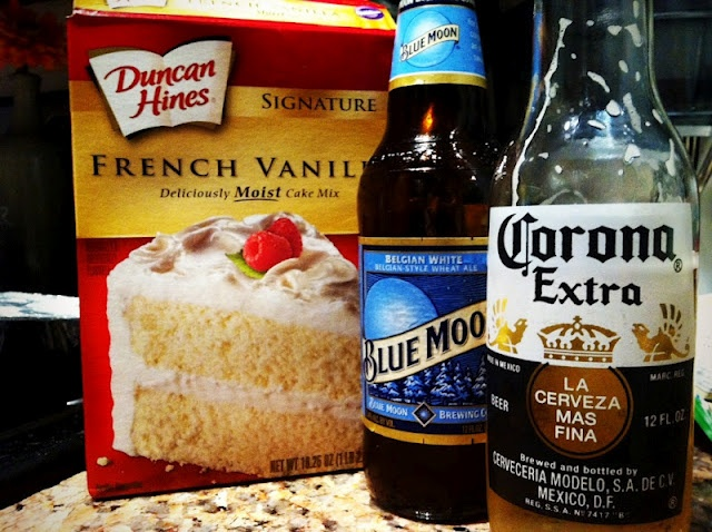 Blue Moon & Corona Cupcakes... uses cake mix