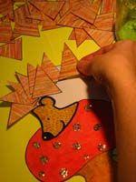 Peindre, découper et coller pour obtenir un hérisson Peinture et craie grasse