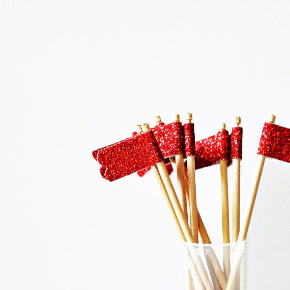Sweet Red Glitter {10} Scallop Cupcake Toppers for your next birthday cupcakes