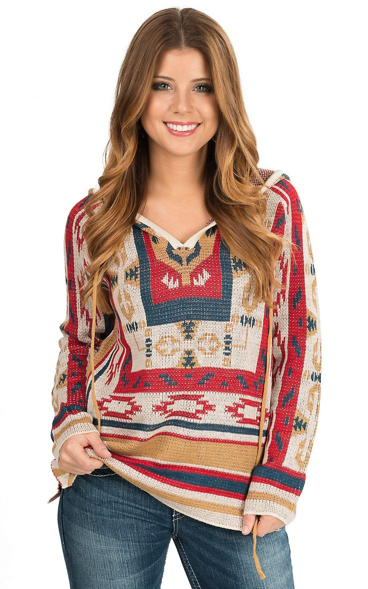 Flying Tomato Women's Red Multicolor Aztec Pattern Long Sleeve Hooded Sweater | Cavender's