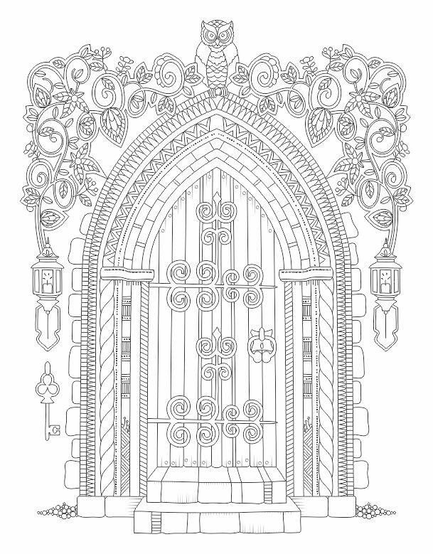 advanced coloring pages for adults free | Owl Flower Door Coloring pages colouring adult detailed ...