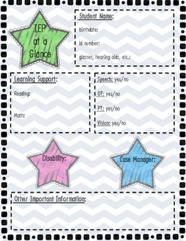 iep at a glance template - 32 best images about iep ideas on pinterest teaching