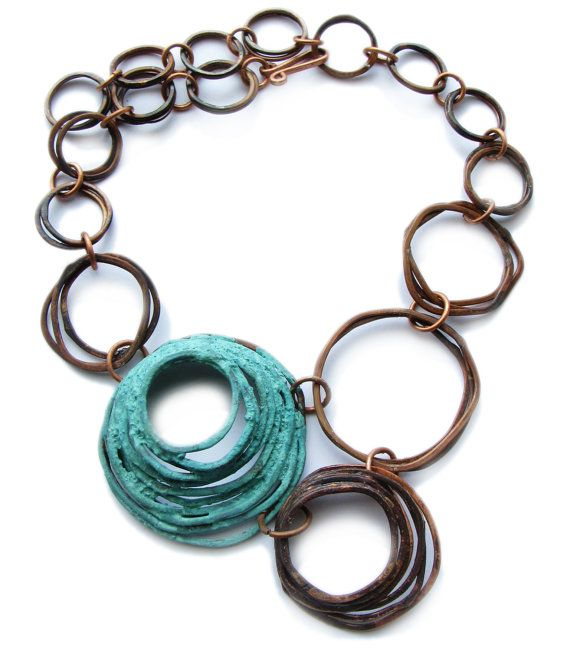 Patina copper necklace - Oxidized Copper Bunches with Patina Rosette - Made to order - handmade copper jewelry