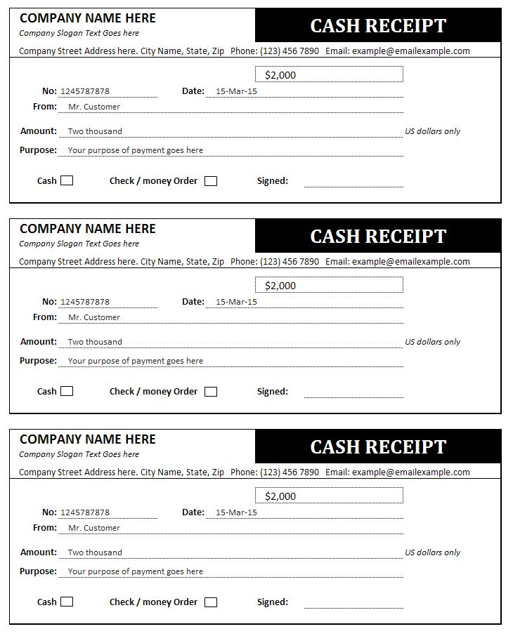 Cash Receipt Template Bills Invoices and Receipts – How to Write a Cash Receipt