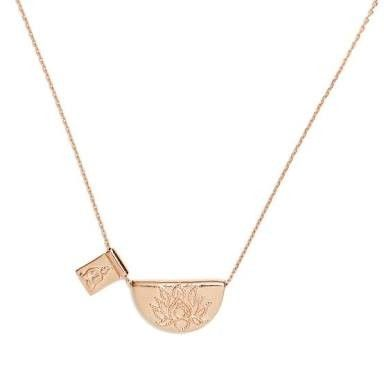 By Charlotte Rose Gold Lotus Little Buddha Short Necklace 19""