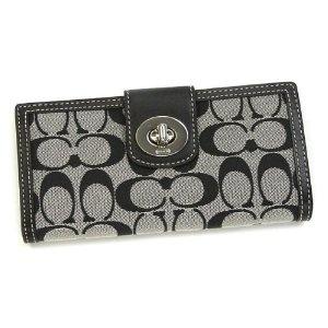 Authentic Coach Turnlock Signature Checkbook Wallet Purse 43613 sbwbk (Apparel)
