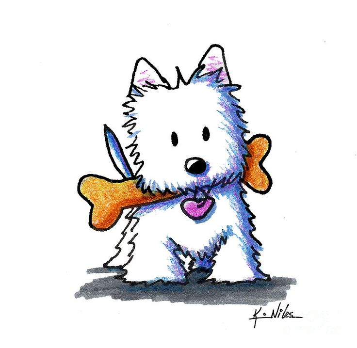 Kiniart Westie With Bone Drawing