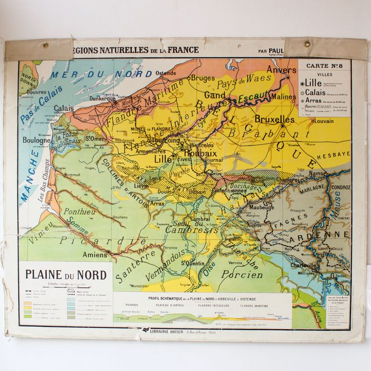 World Map Of Morocco%0A Carte scolaire ancienne N  Plaine du Nord France   North of France vintage  school map Morocco