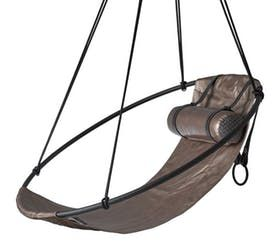 Sling Hanging Swing Chair, Copper Metallic Leather  Contemporary, Industrial, Transitional, Metal, Leather, Armchairs  Club Chair by Studio Stirling