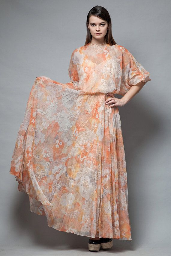 pleated maxi dress vintage 70s boho pleat orange by shoprabbithole