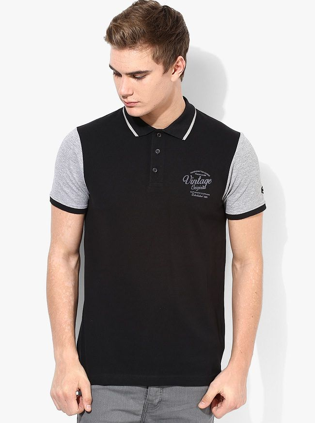 phosphorus black solid polo t-shirt with contrast sleeve