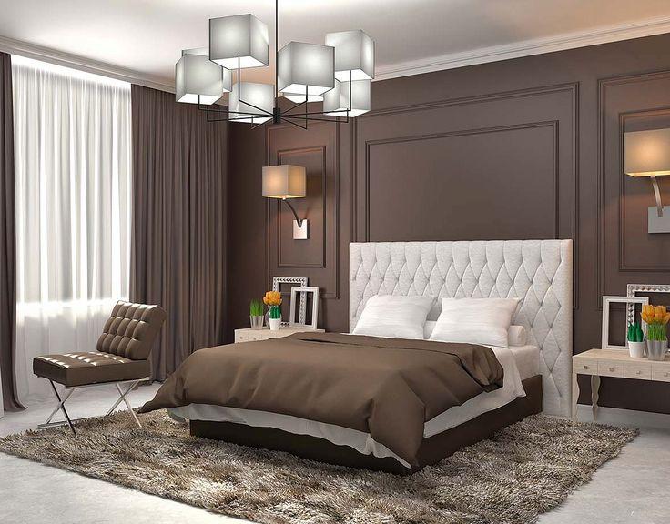 Классическая спальня с коричневыми стенами: купить всё необходимое и получить консультацию дизайнера вы можете в Центре дизайна и интерьера 'ЭКСПОСТРОЙ на Нахимовском'