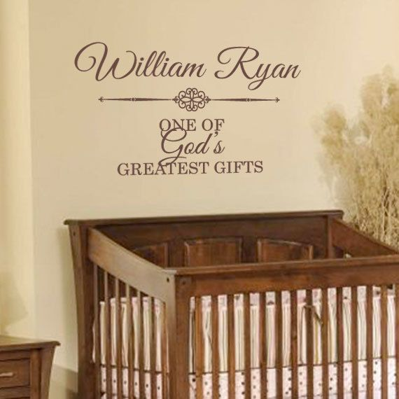 Boy Name Decal - Gods Greatest Gift Personalized Wall Decal For Baby Boy Nursery Or Boys Room Wall Art - Baby Nursery Vinyl Wall Decal CN016 on Etsy, $19.95