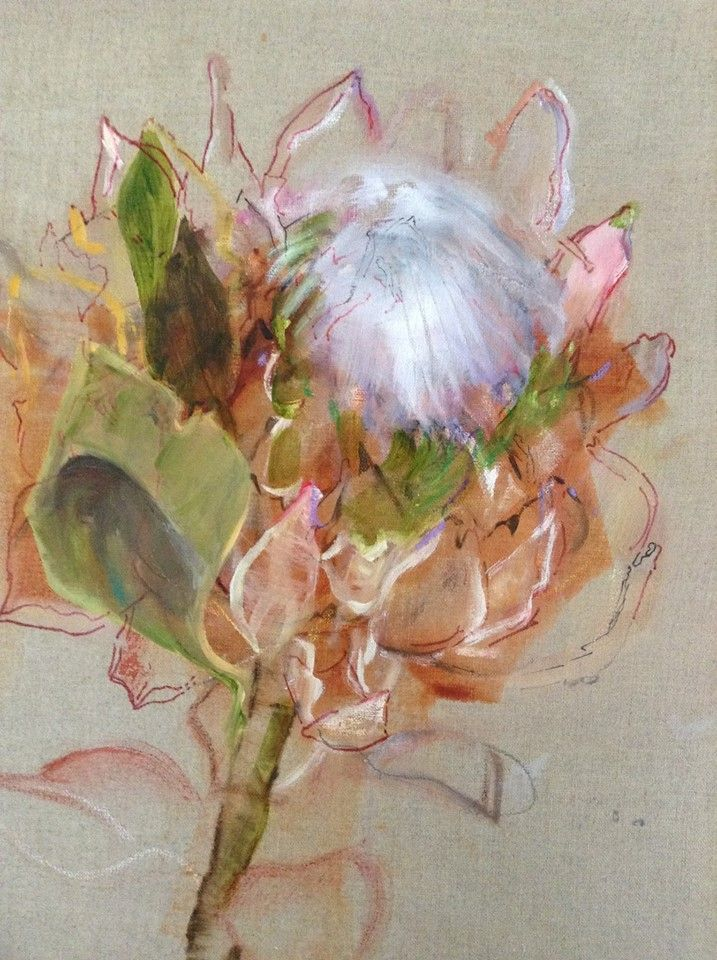 Anne Cleveland's Protea on Linen - gorgeous Anne is an amazing artist  - I have had the pleasure of attening several workshops with her............superb Protea, Anne!