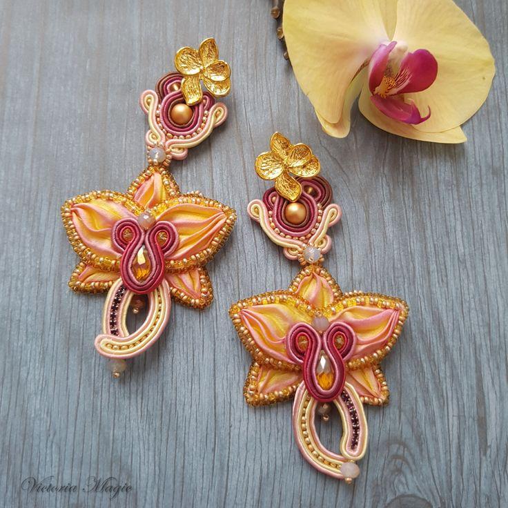 """SALE Soutache Earrings 3 in 1, Long Dangle Earrings """"orchid"""", Long Unique Earrings, Hand Embroidered Soutache Earrings, Shibori Earrings by SoutacheMagic on Etsy"""