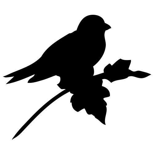 pochoir oiseau sur une branche gratuit à imprimer