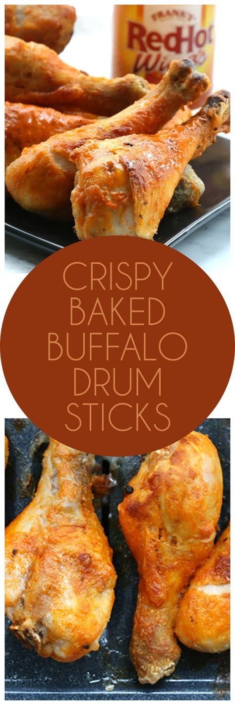 Seriously crispy baked Buffalo Chicken drumsticks. So good and easy to make! Low carb, gluten-free.