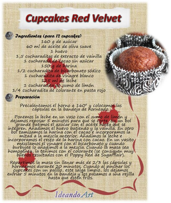 Riquísima receta de cupcakes red velvet by IdeandoArt