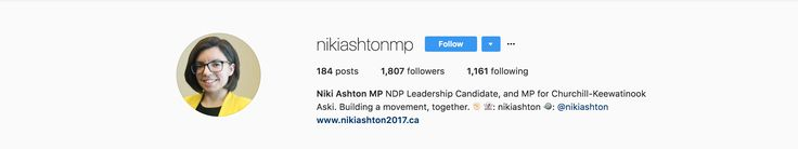 Decent following on Instagram. the second most out of candidates running for the leading position. Very far behind Jagmeet Singh in terms of follower quantity.