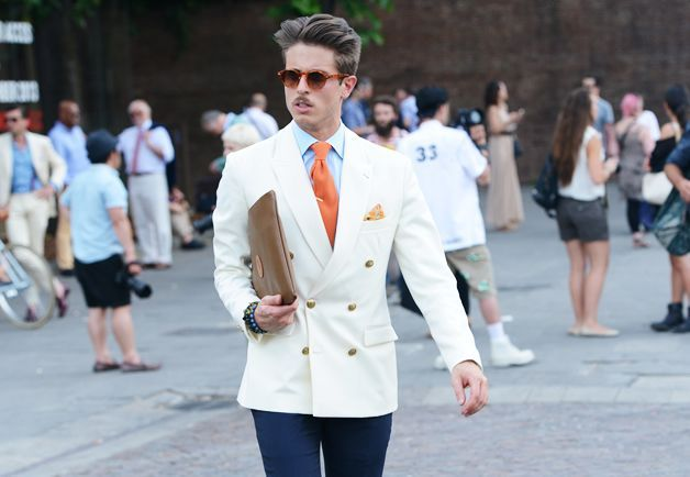 Pitti uomo white double breasted blazer | double breasted jacket ...