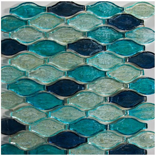 Like The Ocean 3 D Blue And Aquamarine Color Swirl Wave Tessellation Glass