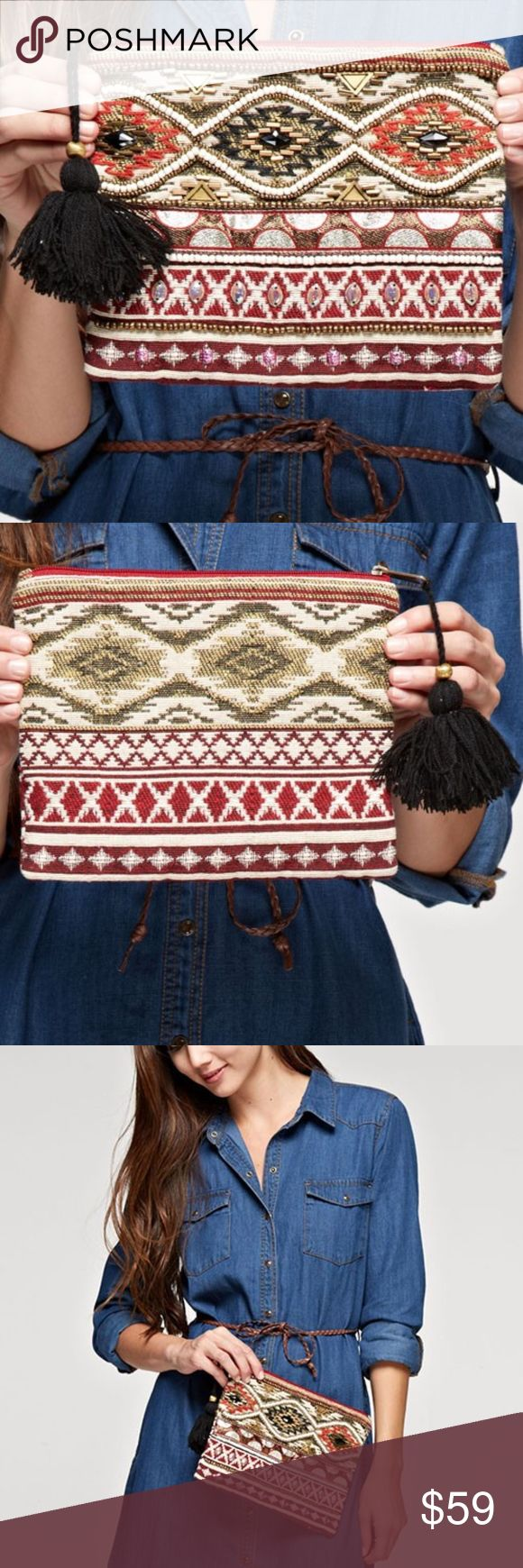 LOVE STITCH AZTEC MOTIF BEADED MAKEUP BAG MULTI PATTERN MAKEUP BAG WITH BEADED DETAIL AND TASSEL SIPPER CLOSURE. I OPEN AND INSPECT EVERY ITEM FOR QUALITY INSURANCE. Love Stitch Bags Clutches & Wristlets