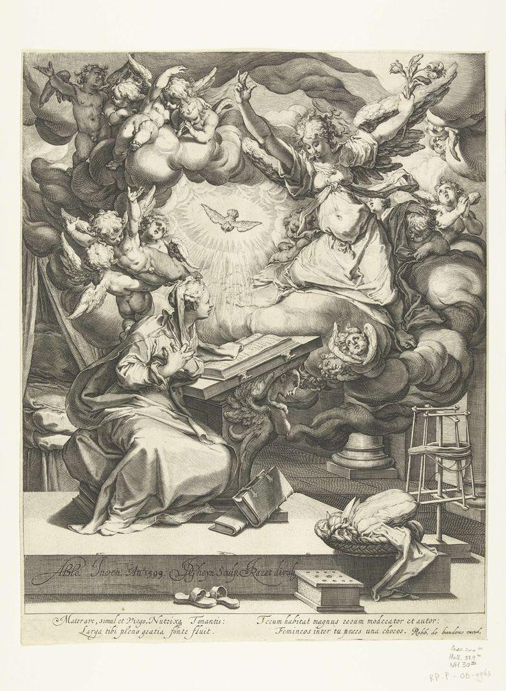 Jacob de Gheyn (II) | Annunciatie, Jacob de Gheyn (II), Robert de Baudous, 1599 | De engel Gabriël verkondigt, uit de hemel komend op een wolk en begeleid door kleine engeltjes en door de Heilige Geest in de gedaante van een duif, de geboorte van Christus aan Maria, die in een slaapvertrek op een verhoging aan een lezenaar zit. Op de voorgrond slippers, een stoof en een mand naaigerei. Onder de voorstelling vier regels Latijnse tekst.
