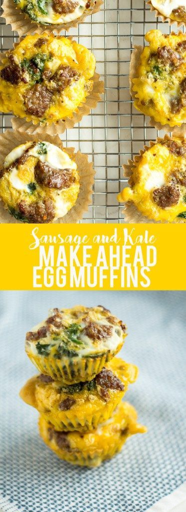 These sausage and kale egg make ahead egg muffins are a low carb, grain free, high protein breakfast that you can make ahead and store in the fridge., On busy mornings, just heat them up and have a quick healthy breakfast.