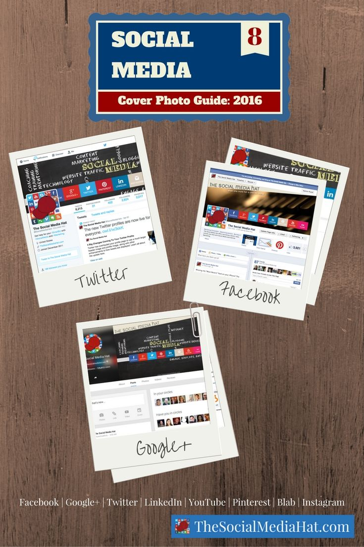 Facebook, Google+, Twitter, LinkedIn, YouTube, Pinterest and Blab all feature the option for a custom cover photo, but they all have different cover photo dimensions and size requirements. Find out what to use and how to create them. | https://www.thesocialmediahat.com/article/complete-social-media-cover-photo-guide via @mikeallton