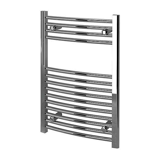 Kudox Curved Towel Radiator - Chrome 500 x 750 mm | Wickes.co.uk
