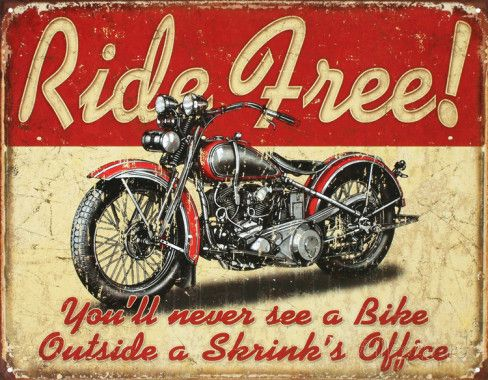 Ride Free Motorcycle Placa de lata