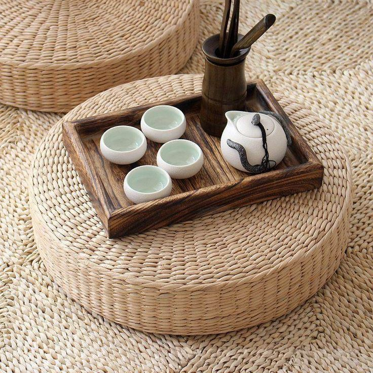 Natural woven tatami style floor cushion for meditation or giving your space an organic, zen vibe. Position these meditation cushions in front of your altar, light your candle or incense (or both!) an