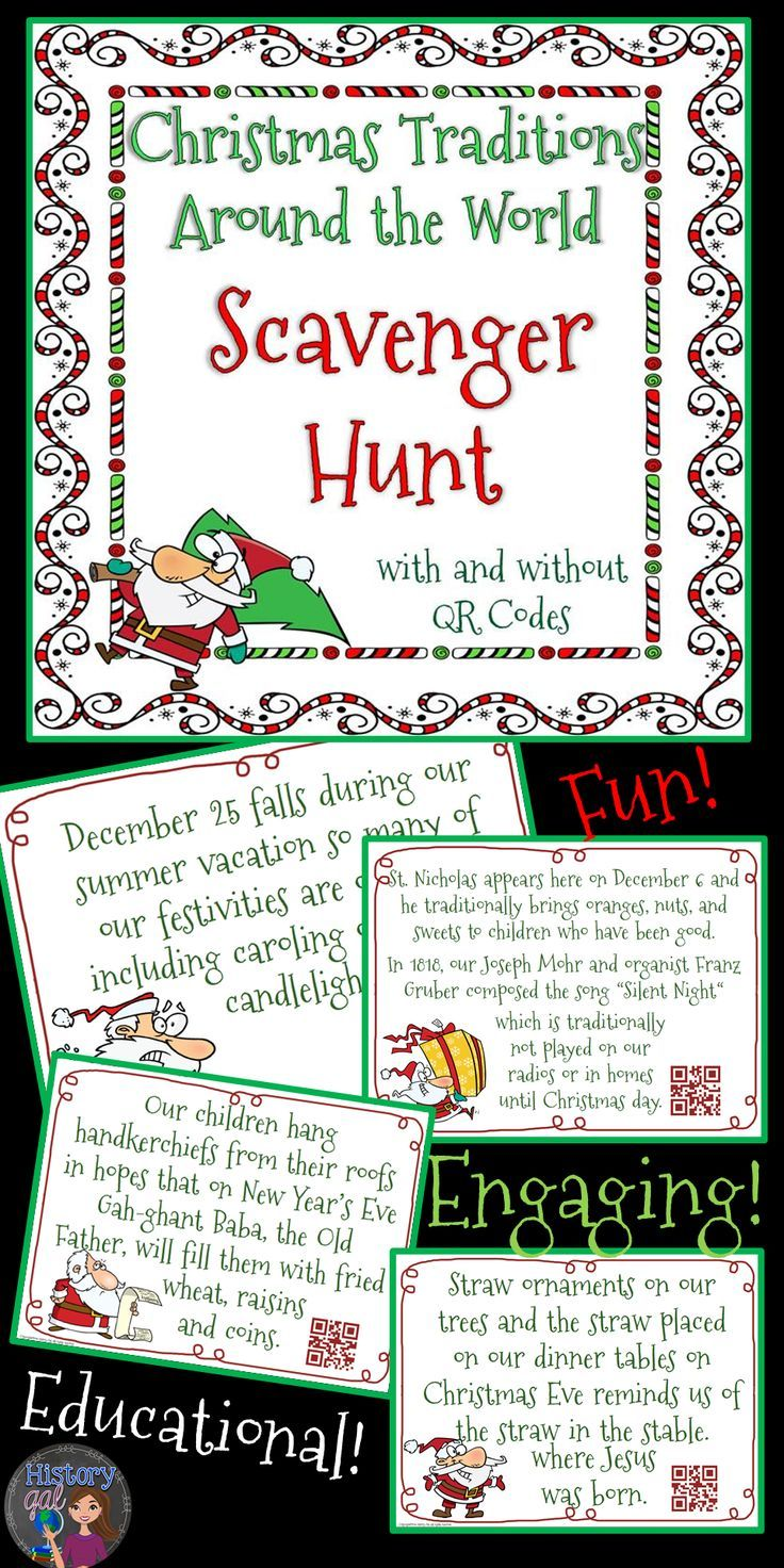 Students will learn about Christmas traditions from around the world by getting out of their seats and going on a scavenger hunt. Scatter the 30 statements around your room and then have your students use QR Code Readers to find out which tradition belongs to which country. Students fill out a handout with the answers and complete a graphic organizer. Great for your 6th, 7th, 8th, and 9th grade classroom or homeschool students! {Middle School & High School approved!} $
