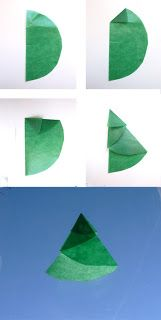 El Hada de Papel shares a simple way to fold paper into charming Christmas trees that can be painted and decorated.