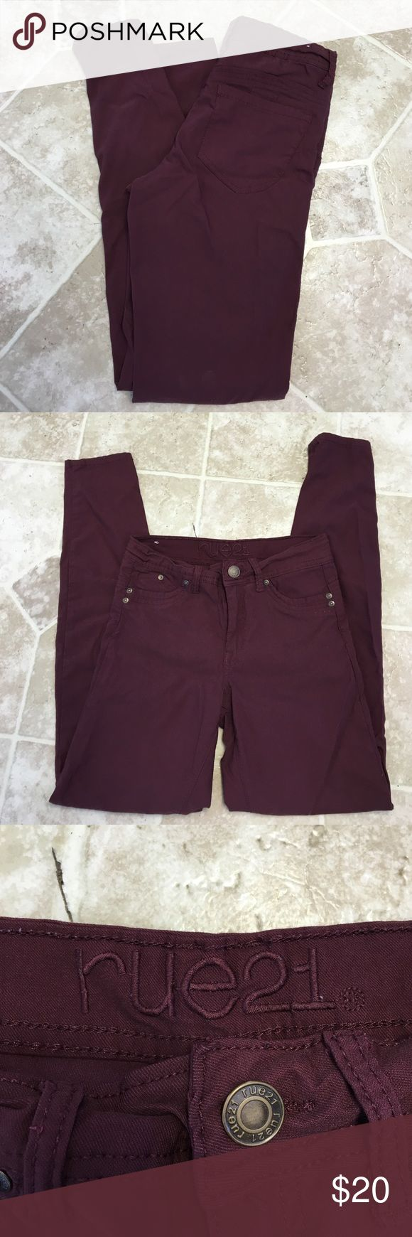 Maroon Rue 21 jeggings! Selling a pair of Rue 21  women's jeggings! Very comfortable and stretchy. Size 7/8. Mid rise Rue 21 Jeans Skinny