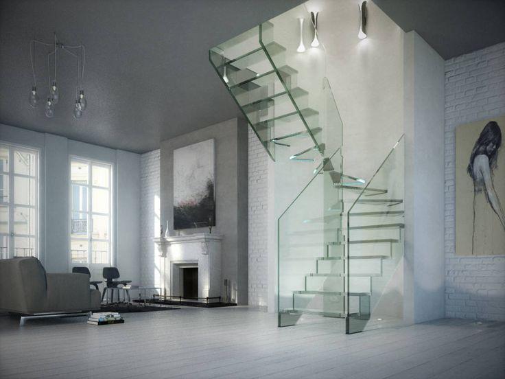 Mit einer Glastreppe kann man Räume offener, heller und großzügiger wirken lassen und eine moderne, durchgestylte und ausgefallene Atmosphäre kreieren.