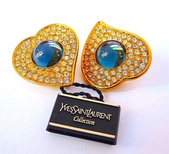SAINT LAURENT Heart Earrings YSL Yves Saint Laurent Vintage