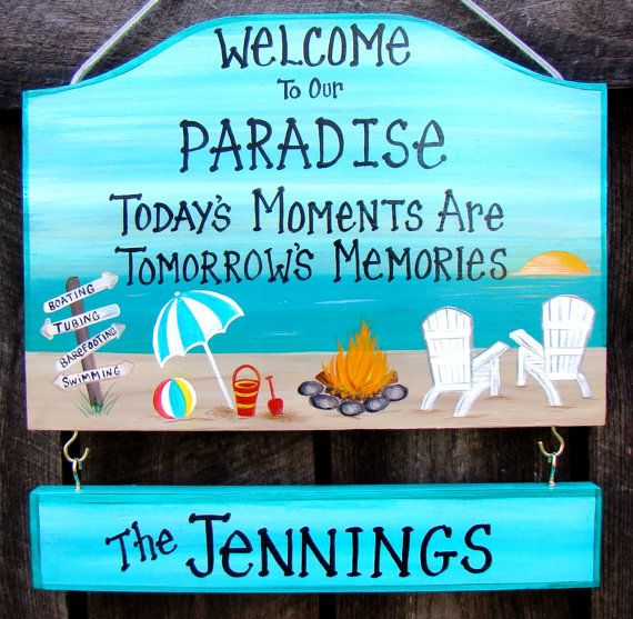 Custom Welcome To Our Paradise Camp Camping Or Backyard Home Yard Beach  Summer Sign Campfire Personalized Signs With Your Name