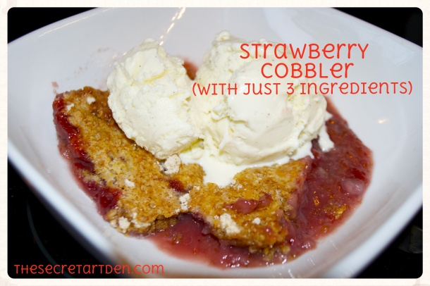 Strawberry Cobbler with just frozen strawberries, white cake mix, and ...
