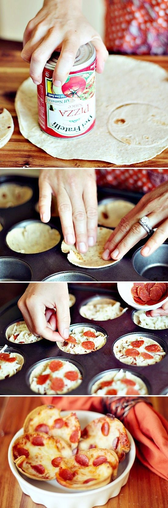 Mini Tortilla Crust Pizzas — super easy to make, can use different ingredients (including low carb tortillas, load up with veggies), great idea!– Fun idea for letting the kids help me cook!