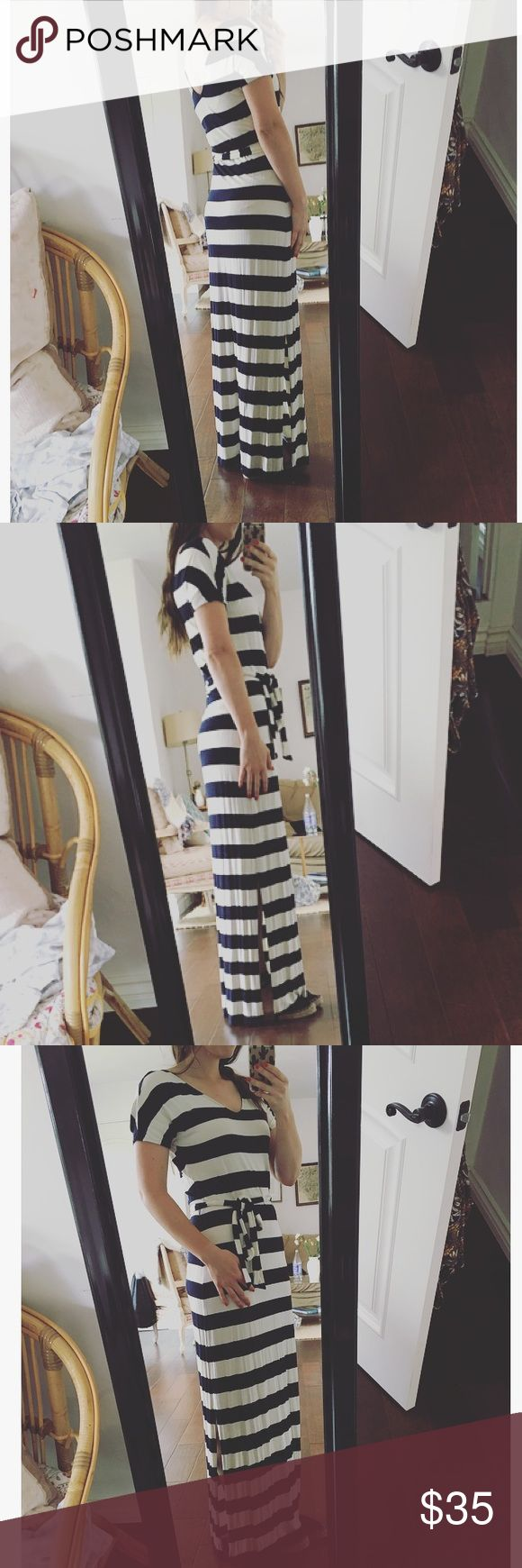 Nautical Maxi Dress Look amazing in an instant! This nautical striped maxi dress will be the most comfortable thing you own! Super faltering with a tie at the waist. Incredibly soft and made of 95% viscose and 5% spandex. Runs a little big. Dark navy and off white. I also have this in black! Same size! Let me know if you're interested! Banana Republic Dresses Maxi
