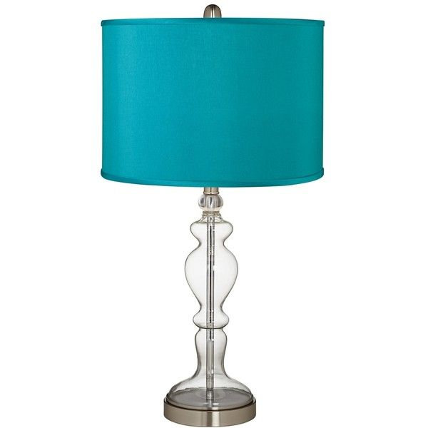 Teal Blue Faux Silk Apothecary Clear Glass Table Lamp ($100) ❤ liked on  Polyvore featuring home, lighting, table lamps, blue, clear glass table lamp,  ... - Best 25+ Clear Glass Table Lamp Ideas On Pinterest Bedroom Lamps