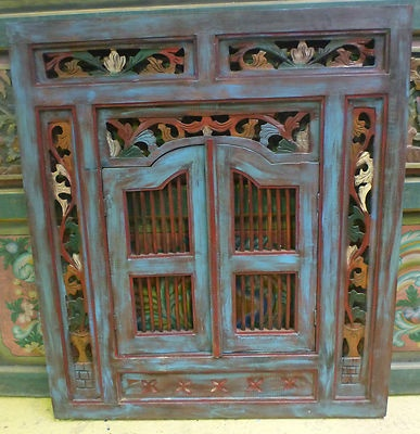 Balinese Prison Style Wood Carved Decorative Wall Panel