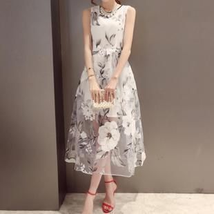 Buy 'Dowisi – Sleeveless Floral Print Organza Dress ' with Free International Shipping at YesStyle.com. Browse and shop for thousands of Asian fashion items from China and more!