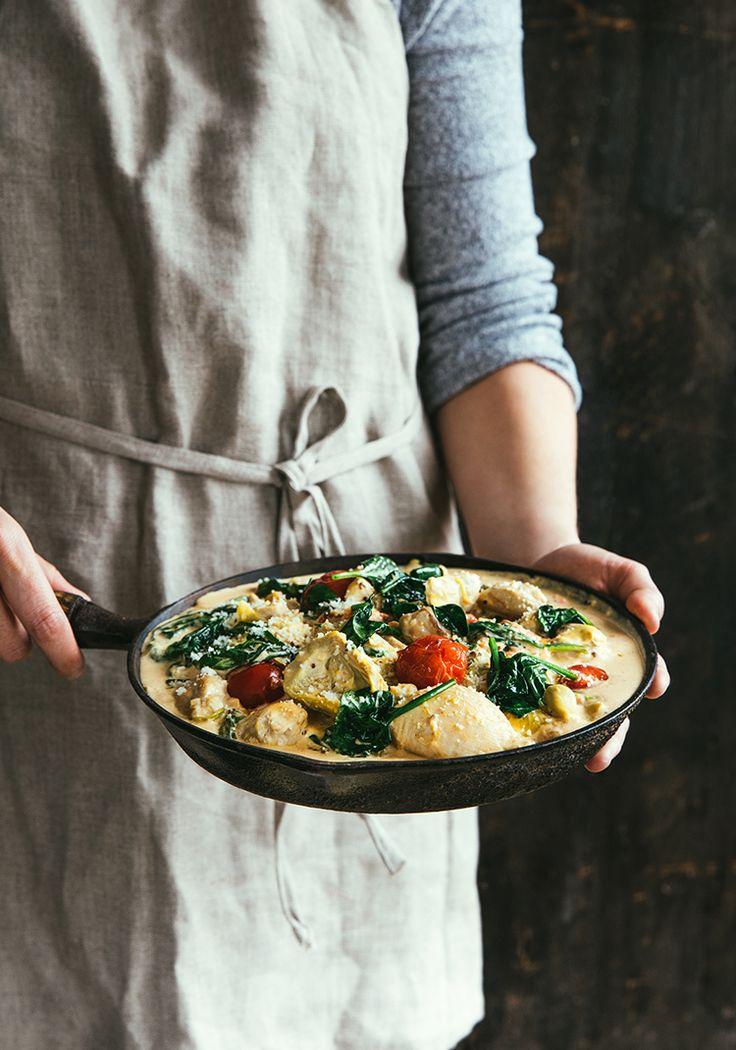 Hauts de cuisse de poulet & sauce au fromage, aux artichauts et aux tomates - Recette - Trois fois par jour