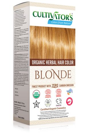 Organic Herbal Hair Color - Blonde Natural hair dye with 100% organic and chemical free ingredients for natural and healthy hair, color with care.