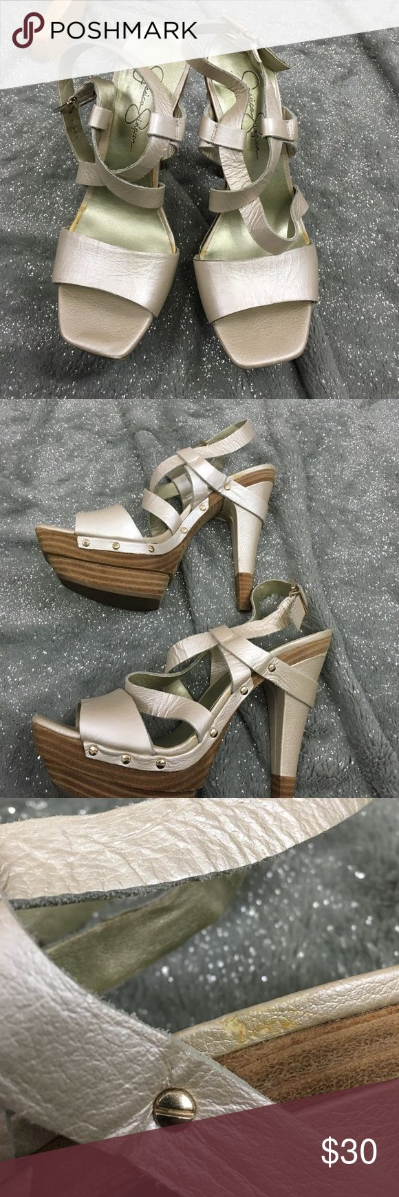 Jessica Simpson Kooza metallic heels In very good condition, a few flaws as pictured (all would be hidden when worn) Jessica Simpson Shoes Heels