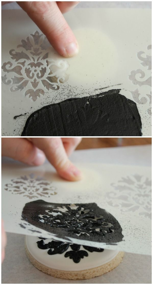 The best way to cleanly stencil on cookies (SweetSugarBelle). Great tutorial.